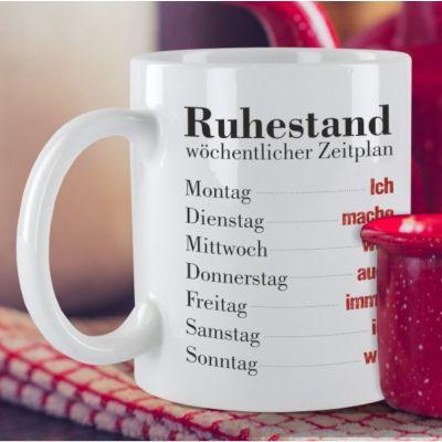 """Weiße Tasse """"Ruhestand - wöchentlicher Zeitplan"""""""