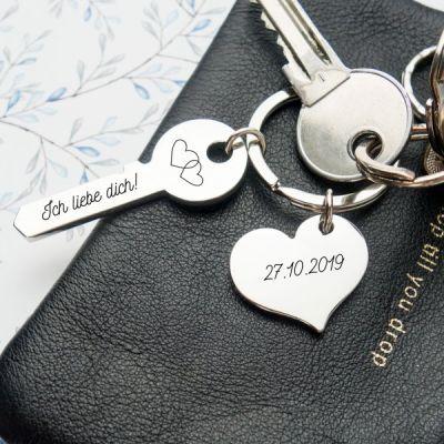 Liebesschlüssel 'Herzen' mit Wunschgravur
