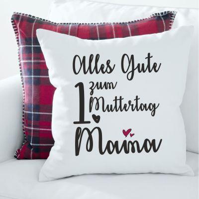 """Kissen """"Alles Gute zum 1. Muttertag Mama"""" - mit Wunschzahl personalisierbar"""