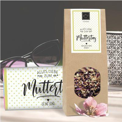 """Schokolade & Tee Geschenkset """"Alles Liebe zum Muttertag"""" personalisierbar"""