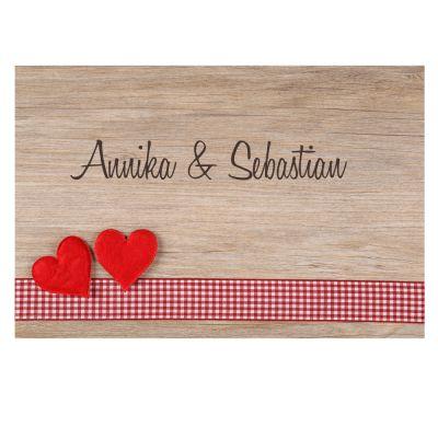 """Fußmatte """"Herzen auf Holz"""" mit Namen"""