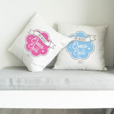"""Kissen """"Ihr werdet Oma & Opa"""" Design: Logo"""