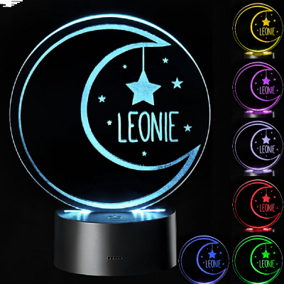 "LED Motivlampe - personalisierte 3D Leuchte ""Mond"""