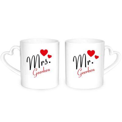 """Herz-Tassen """"Mr & Mrs"""" - personalisiert"""