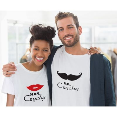 "Personalisierte T-Shirts ""Mr. & Mrs.  (Schnauzer / Lippen)"" - SET"