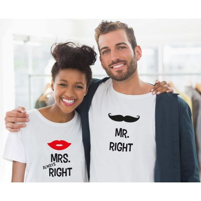 """T-Shirts """"Mr. Right & Mrs. ALWAYS Right"""" - SET"""