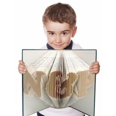 Gefaltetes Buch mit Wunschtext - handgearbeitet
