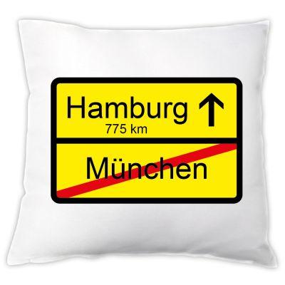 """Kissen """"Ortsschild"""" zum Umzug / Eigenheim"""