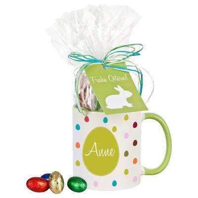 """Tasse """"Frohe Ostern"""" mit Schokolade - personalisiert (bunte Punkte)"""