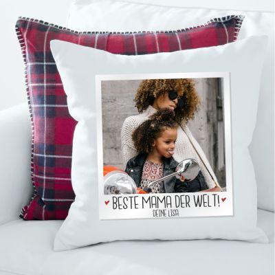 """Kissen """"Polaroid: Beste Mama der Welt"""" personalisierbar"""
