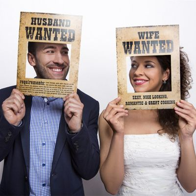 """Photo Booth Poster """"Wife Wanted"""" und """"Husband Wanted"""""""