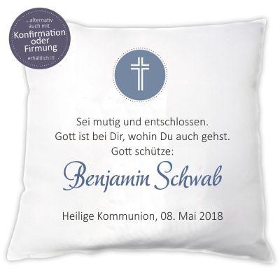 """Personalisiertes Kissen """"Gott schütze…""""  zur Konfirmation / Firmung / Kommunion"""