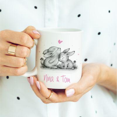 """Weiße Tasse """"verliebte Hasen"""" mit Personalisierung"""