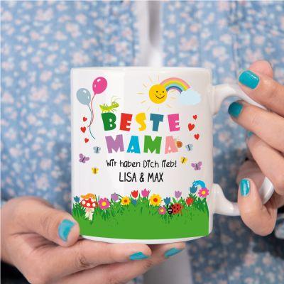 """Weiße Tasse """"Beste Mama"""" - Motiv: Spielwiese   Personalisiert mit Namen"""