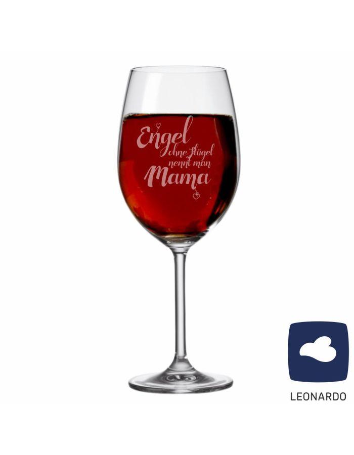 "XXL Leonardo Weinglas ""Engel ohne Flügel nennt man Mama"""