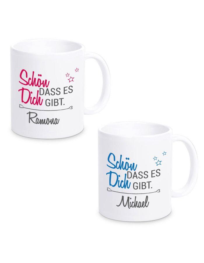 """Tasse """"Schön, dass es Dich gibt."""" (Design: pink oder blau)"""