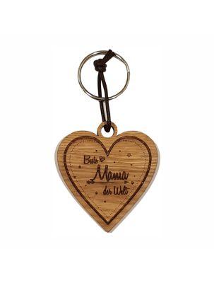 Schlüsselanhänger Herz aus Holz für die beste Mama