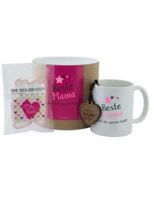 """Geschenkset """"Beste Mama auf der ganzen Welt!"""" (Tasse, Schlüsselanhänger & """"Hab Dich lieb"""" Herzen)"""