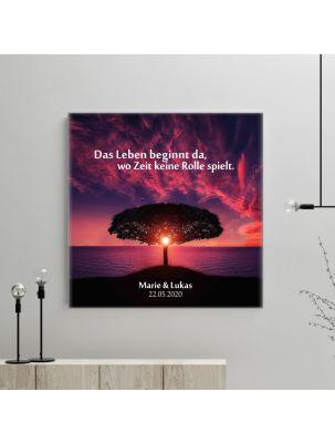 """Personalisierte Leinwand """"Das Leben beginnt da, wo Zeit keine Rolle spielt"""""""