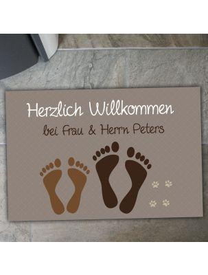 """Fußmatte """"Füße & Pfoten"""" mit Namen (Farbe: taupe oder blau)"""
