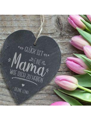 """Schieferherz """"Glück ist, eine Mama wie Dich zu haben"""" personalisierbar"""