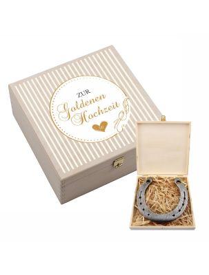 """Hufeisen-Box """"Zur Goldenen Hochzeit"""" (Streifen in weiß)"""