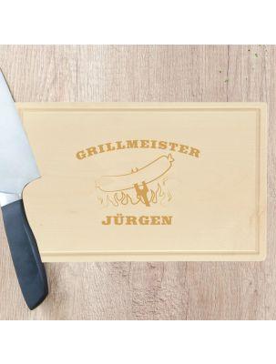 """Schneidebrett """"Grillmeister Bratwurst auf Gabel"""" - personalisiert (rechteckig)"""