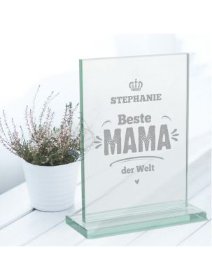 """Glaspokal """"Beste Mama der Welt"""" mit Namensgravur personalisierbar"""
