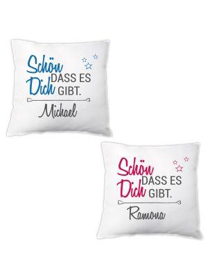 """Personalisiertes Kissen """"Schön, dass es Dich gibt."""" - für Frauen & Männer"""