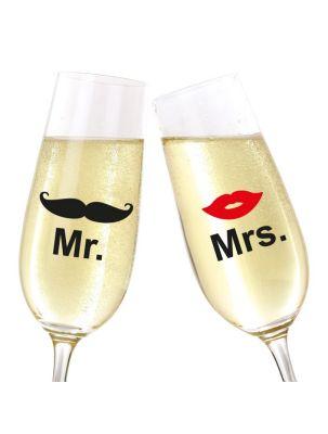 """Glasaufkleber """"Mr. & Mrs."""" mit Schnauzer und Mund"""