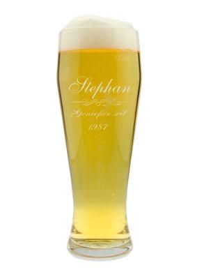 """Personalisiertes Weizenbierglas """"Genießer"""" mit Namen und Geburtsjahr"""