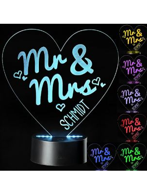 """LED Motivlampe - personalisierte 3D Leuchte """"Mr. & Mrs."""""""