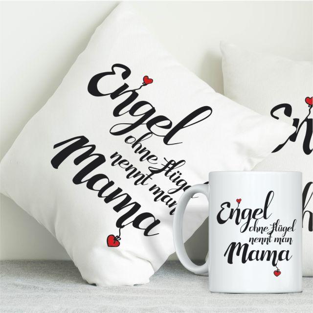 """Geschenkset """"Engel ohne Flügel nennt man Mama"""" (Kissen & Tasse)"""