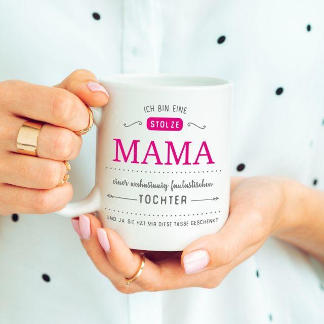 """Tasse """"Ich bin eine stolze Mama eines wahnsinnig fantastischen Sohnes / Tochter"""""""