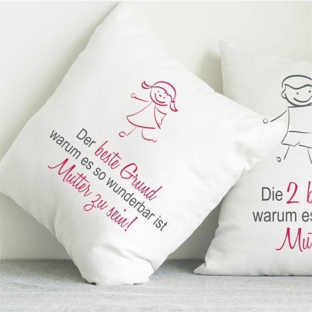 """Kissen """"Die besten Gründe, warum es so wundervoll ist, Mutter zu sein!"""" - personalisierbar"""
