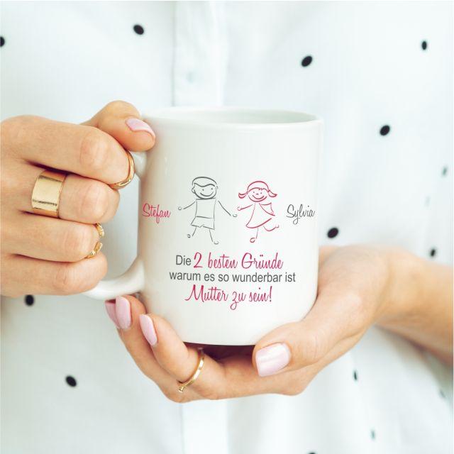 """Weiße Tasse """"Die besten Gründe, warum es so wundervoll ist, Mutter zu sein!"""" - personalisierbar"""