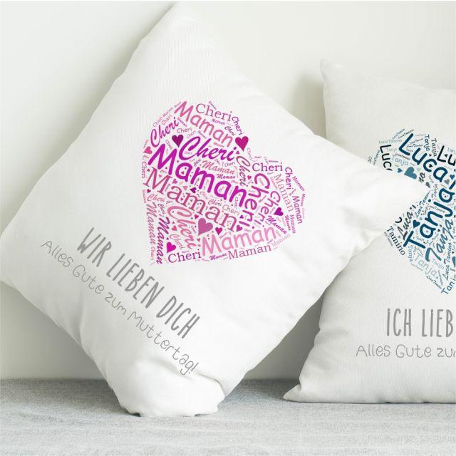 """Kissen """"Muttertagsherz"""" - personalisiert"""