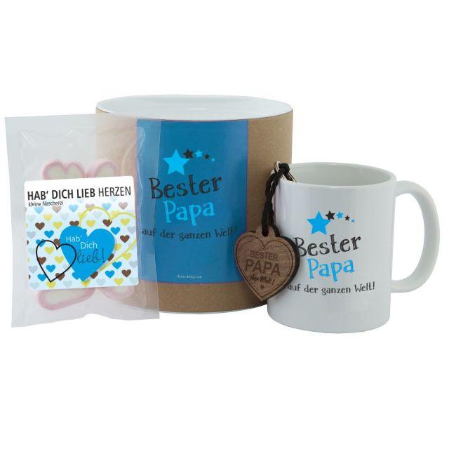"""Geschenkset """"Bester Papa auf der ganzen Welt"""" (Tasse, Schlüsselanhänger & """"Hab Dich lieb"""" Herzen)"""