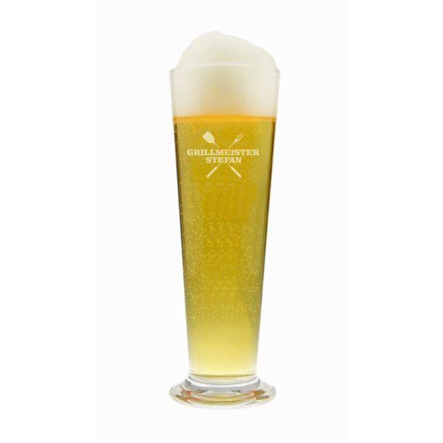 Graviertes Bierglas mit Grillmeister-Gravur und Namen