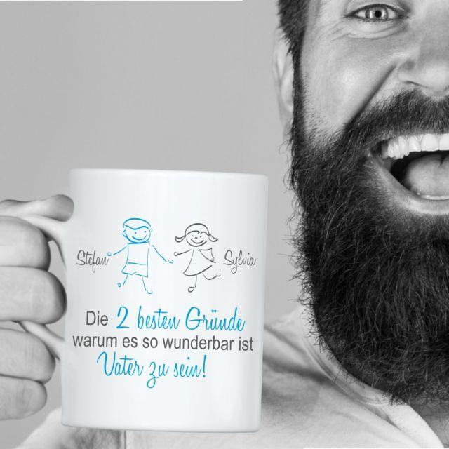 """weiße Tasse """"Die besten Gründe, warum es so wunderbar ist Vater zu sein!"""" - personalisiert"""