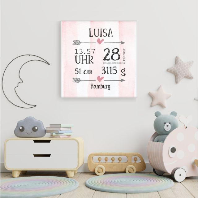 Personalisierte Leinwand zur Geburt - rosa