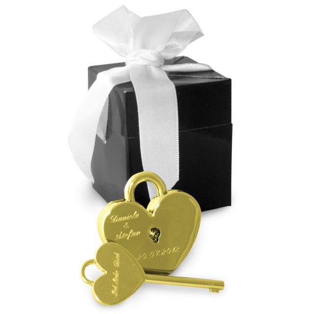 Herzschloss in gold oder in silber mit Gravur - personalisiertes Liebesschloss