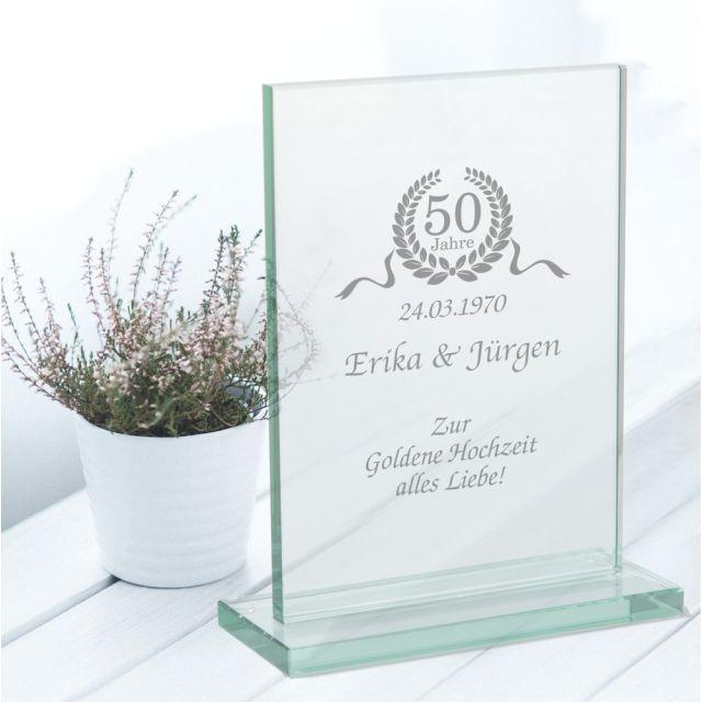 """Personalisierter Glaspokal """"Zur Goldenen Hochzeit"""""""