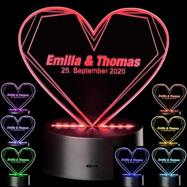 LED Motivlampe - 3D Herzleuchte mit Personalisierung