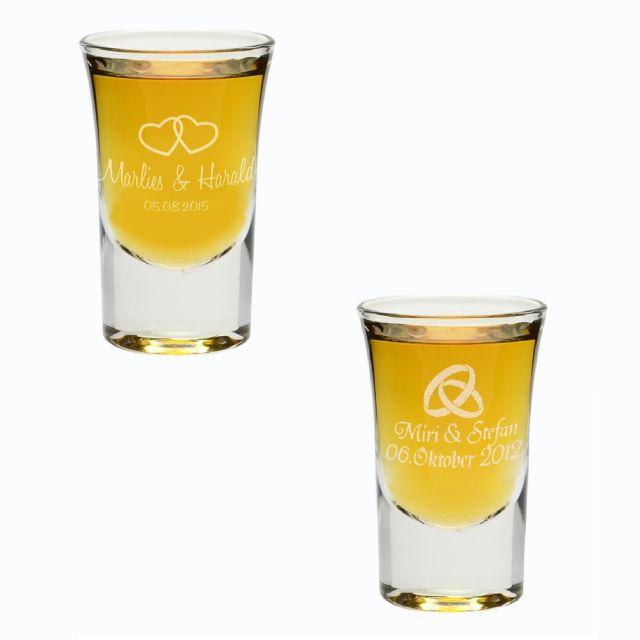 Schnapsglas zur Hochzeit - personalisiert