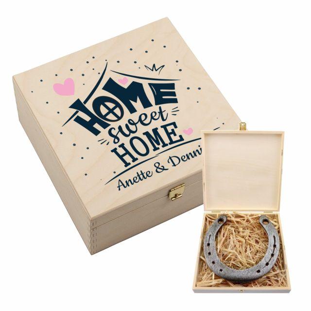 "Personalisierte Hufeisen-Box ""Home Sweet Home"""