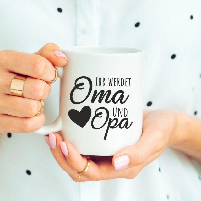 """weiße Tasse """"Ihr werdet Oma und Opa"""" Design: schwarzes Herz"""