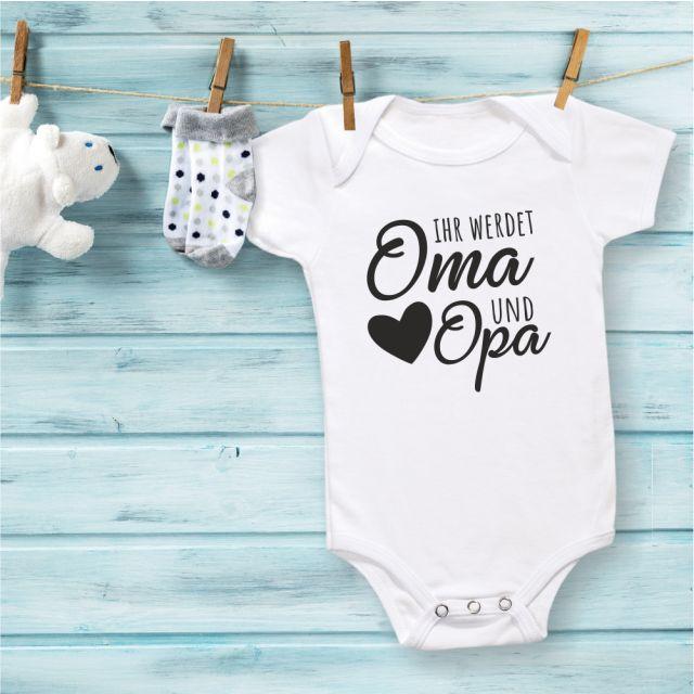 """Babybody """"Ihr werdet Oma und Opa"""" Design: schwarzes Herz"""