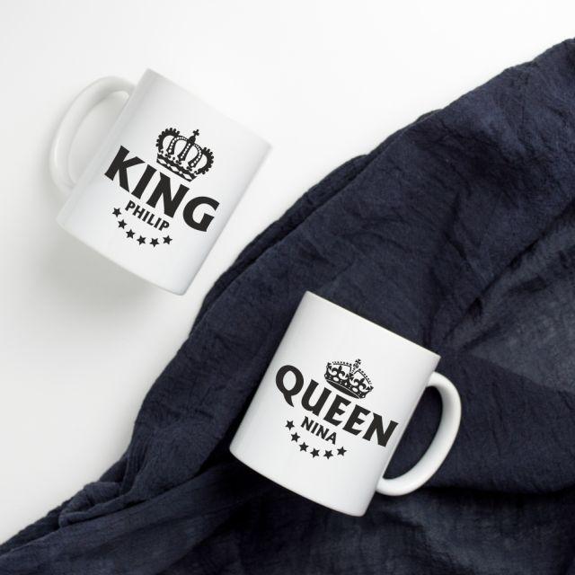"""Tassen-Set """"King & Queen"""" - personalisiert"""