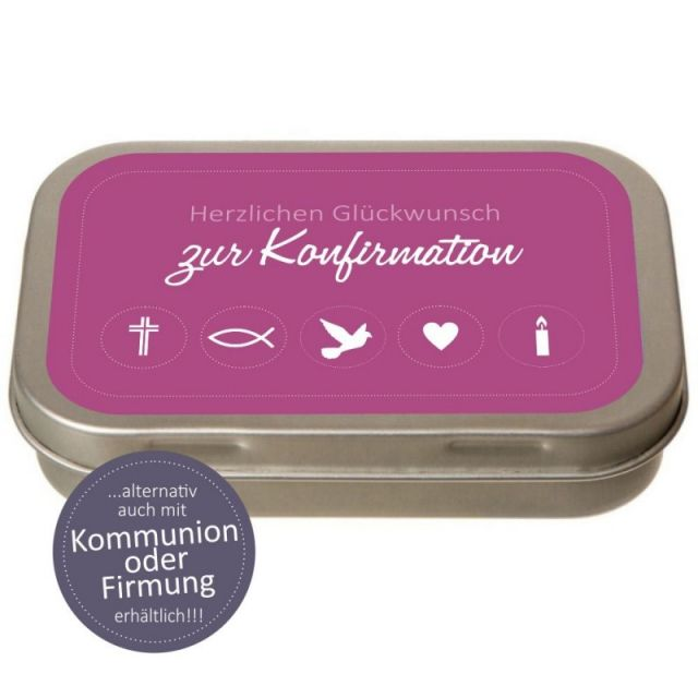 Geld-Geschenkdose Herzlichen Glückwunsch zur Konfirmation/Firmung/Kommunion